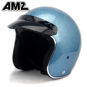 Amz Shinning Blue Vintage Open Face Helmet