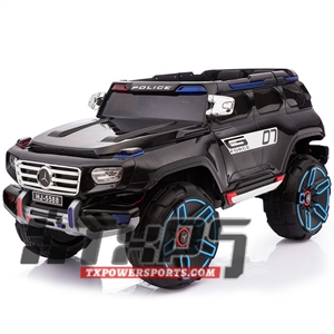 Kids Electric Ride on Car POLICE HJ-5588 with Remote Control, MP4 Screen, Leather Seats, 12 Volt Battery